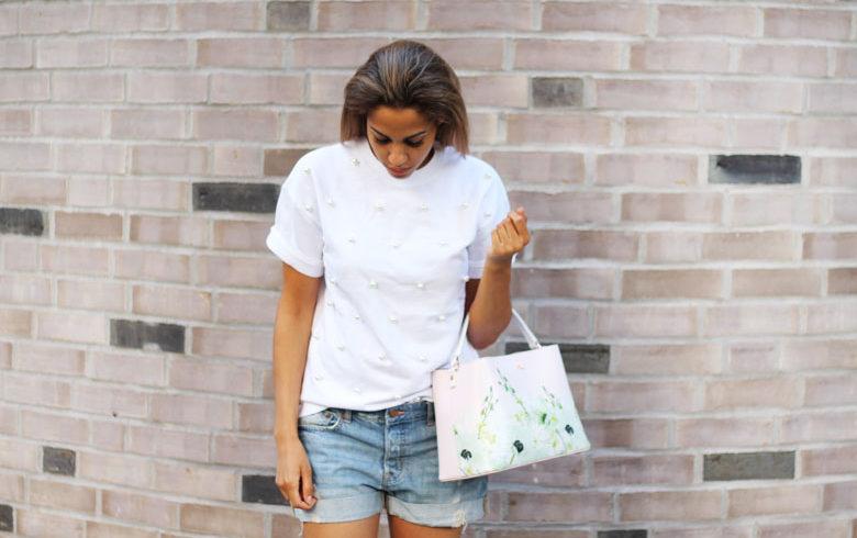 Weißes Perlen Shirt