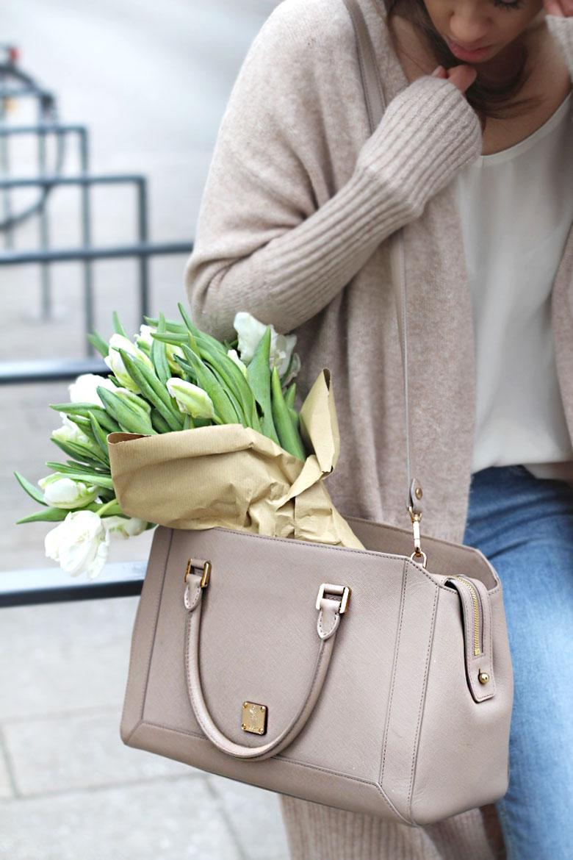 Sunday, White Tulips and Oversized Cardigan